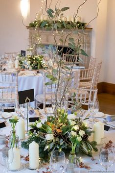 A beautiful winter table centre at Coombe Lodge using Blue Spruce, willow to add height, and loads of white candles for that warm glow you need on a freezing cold winter night. The Wilde Bunch at Coombe Lodge. Lodge Wedding, Wedding Venues, Wedding Ideas, Anniversary Plans, Winter Table, Blue Spruce, Freezing Cold, Centerpieces, Table Decorations