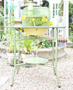 French Style Vintage Enamel Wash Stand with Basin by MariesMaison, $185.00