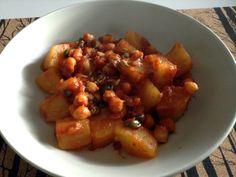 Patatas con garbanzos al hinojo