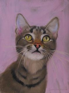 "Daily Paintworks - ""Starry Eyed cat painting"" - Original Fine Art for Sale - © Diane Hoeptner"