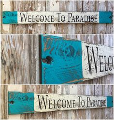 Welcome To Paradise. Rustic 4 Foot Long Wood Sign. Great for Lake House, Beach House or By the Pool. Distressed Sign.