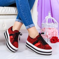 Pantofi Thiago rosii cu platforma