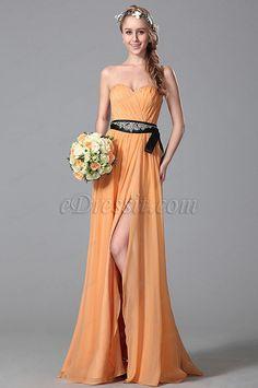 A Line Strapless Sweetheart Beaded Belt Slit Bridesmaid Dress (07150410)