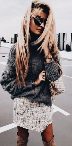 Tweed skirt + oversized gray sweater