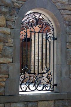 Wrought Iron window grill, window guard, Irish Iron Serving Sacramento CA Wrought Iron Decor, Wrought Iron Gates, Iron Windows, Iron Doors, Gate Design, Door Design, Reforma Exterior, Iron Window Grill, Metal Gates