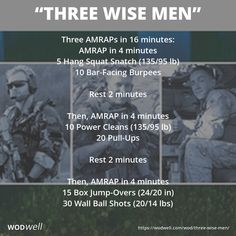 """Three Wise Men"" WOD - Three AMRAPs in 16 minutes: AMRAP in 4 minutes; 5 Hang Squat Snatch (135/95 lb); 10 Bar-Facing Burpees; Rest 2 minutes; Then, AMRAP in 4 minutes; 10 Power Cleans (135/95 lb); 20 Pull-Ups; Rest 2 minutes; Then, AMRAP in 4 minutes; 15 Box Jump-Overs (24/20 in); 30 Wall Ball Shots (20/14 lbs)"