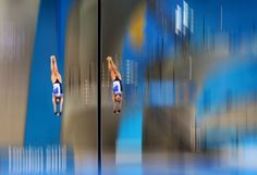 JULY 31: Sarah Barrow and Tonia Couch of Great Britain compete in the Women's Synchronised 10m Platform Diving on Day 4 of the London 2012 Olympic Games at the Aquatics Centre on July 31, 2012 in London, England. (Photo by Al Bello/Getty Images)