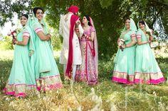 Bridesmaids in mint-green, Indian wedding
