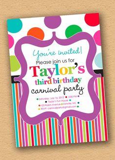 Carnival Candy Polka Stripe Party Invitation by InkberryCards.com