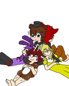 Freddy, Chica, Foxy, Bonnie, and Red the deer! Draw the squad cute pic!