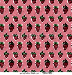 Seamless fresh strawberry pattern cartoon style on a pink background hand drawing