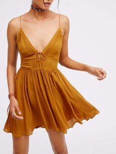 5057c78e9b1 Ginger Plunge V-neck Lace Up Back Spaghetti Strap Mini Dress