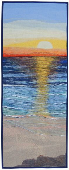 Textile fibre art quilt Morning Colours sunrise thread by bekahdu
