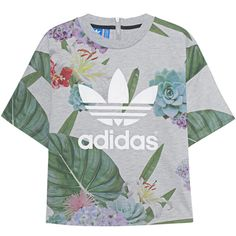 ADIDAS ORIGINALS Train Boxy Tee Grey // Printed T-shirt with zipper... (€49) ❤ liked on Polyvore featuring tops, t-shirts, shirts, blusas, grey shirt, crew t shirt, floral print shirt, print t shirts and gray t shirt