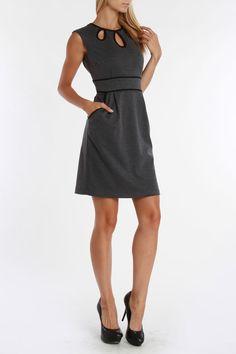 Sandra Darren Mimi Ponte Dress In Dark Charcoal And Black