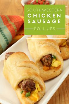 Craving a touch of heat with your breakfast on the go? Whip up a batch of these easy roll ups filled with savory chicken sausage, eggs and cheese. Breakfast Dishes, Breakfast Time, Breakfast Recipes, Breakfast Ideas, Paninis, Quesadillas, Burritos, Chicken Sausage Rolls, Brunch Recipes