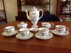 Vintage Wedgwood 'Kutani Crane' Bone China Coffee Set
