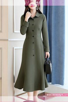 Buy Casual Dresses Midi Dresses For Women from Misslook at Stylewe. Online Shopping Stylewe Formal Dresses Long Sleeve Casual Dresses Work Sheath Shirt Collar Work Buttoned Dresses, The Best Work Midi Dresses. Discover unique designers fashion at stylewe. Simple Dresses, Elegant Dresses, Casual Dresses, Dresses For Work, Midi Dresses, Midi Dress Work, Green Midi Dress, Best Formal Dresses, Dress Formal