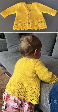Precious Emilia – Free Pattern – Knitting patterns, knitting designs, knitting for beginners. Baby Cardigan Knitting Pattern Free, Baby Sweater Patterns, Knit Baby Sweaters, Knitted Baby Clothes, Baby Patterns, Knit Patterns, Baby Knits, Clothing Patterns, Knitting For Kids