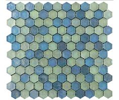 Hammered Hex Aqua Mix Glass Mosaic - Glass Mosaic Tiles from Tile Mountain Hexagon Mosaic Tile, Mosaic Wall Tiles, Wall And Floor Tiles, Mosaic Glass, Bathroom Layout, Loft Bathroom, Blue Walls, Aqua, Home Decor