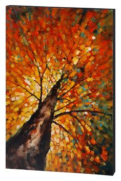 This stunning piece is hand painted and will give a cool, autumnal beauty to any space year round.  - Original painting  - Oil on canvas #fallcanvaspainting