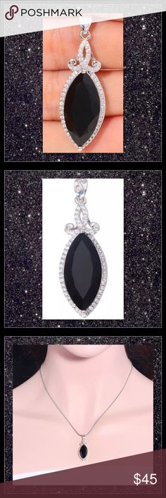 "JUST IN🆕 Black Onyx White Gold Filled Pendant Metal Type: White Gold Filled Main Stone and Size: Black Onyx 20x10mm Accessory Stone and Size: Zircon 1mm Pendant Size: 1 1/2"" Pendant Width: 13mm Chain not included   ⭐️⭐️SORRY NO TRADES AND LOWBALL OFFERS WILL BE IGNORED ⭐️⭐️  ✂️LOWBALL OFFERS WILL BE IGNORED✂️ Glam Squad 2 You Jewelry"