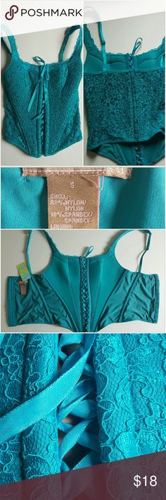 Lace up Cami size small Teal Adjustable straps,Hook and eye back closure, Boning and lace up front. Forever 21 Tops