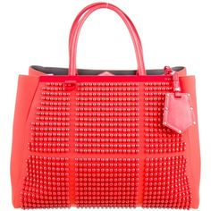 Pre-owned Fendi Studded Medium 2Jours Tote (86.355 RUB) ❤ liked on Polyvore featuring bags, handbags, tote bags, red, zip tote, handbags totes, red tote bag, fendi tote bag and tote purses