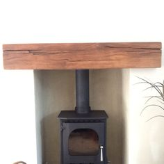 Mantlepiece and log burner Living Dining Room, Mantel Shelf, Inglenook, Oak Fireplace, Fireplace Accessories, Floating Mantel, Beams, French Oak, Wood Fireplace