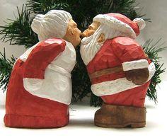 Reserved for Robert Pierce Handmade Santa Claus Kissing Mrs. Claus Wood Carving Art Sculpture
