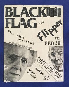 C430 Original Punk Gig Flyer Black Flag Flipper Sick Pleasure