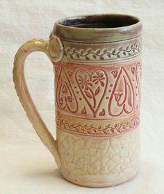 Hand Built Pottery, Slab Pottery, Pottery Mugs, Ceramic Pottery, Clay Mugs, Ceramic Clay, Coffee Heart, Coffee Mugs, Mugs And Jugs