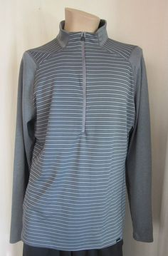 PATAGONIA Capilene Gray Stripe 1/2 Zip Long Sleeve Pullover Shirt XL XLarge #Patagonia #BaseLayers