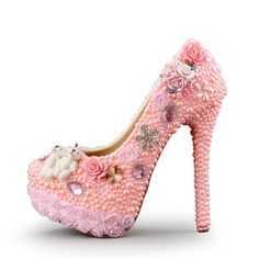 (108.00$)  Watch now  - Pink new diamond shoes high heels Pearl lace shoes new bridesmaid shoes Wedding dress shoes