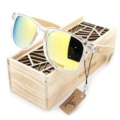BOBO BIRD Clear Color Wood Bamboo Sunglasses With UV 400 Protection Men's Accessories Awesome Summer Natural Wooden Sunglasses Shops Fashion Styles Website Beach Sunglasses, Wooden Sunglasses, Polarized Sunglasses, Sunglasses Women, Crazy Sunglasses, Stylish Sunglasses, Wayfarer Sunglasses, Wooden Gift Boxes, Packaging