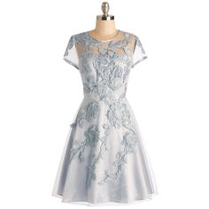 Pre-owned Modcloth Falling In Lovely Dress ($155) ❤ liked on Polyvore featuring dresses, light blue, preowned dresses, pre owned dresses and light blue dress