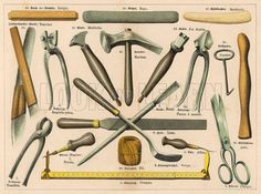 Various tools used by a shoemaker or cobbler, including scissors, pliers, hammers, a skewer, a ruler and strong thread. Date 1875.