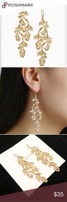 """Stella & Dot Grace Chandelier earrings New on card, never worn. From their website: These elegant earrings are hand cast from dleicate leaves that Blythe found while in Northern California. The natural fern design will add the perfect touch of romance to your look - can be dressed up or down.  3"""" drop length.  Sterling silver ear wire.  Medium weight. Shiny gold plating. Stella & Dot Jewelry Earrings"""