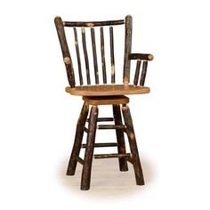 Rustic Hickory on Hickory OR Hickory on Oak Stick Back - 24 inch OR 30 inch Swivel Bar Stool - With Log Arms - Custom - Amish Made in USA Log Bar Stools, 30 Inch Bar Stools, Swivel Bar Stools, Counter Stools, Counter Top, Hickory Chair, Chairs For Small Spaces, Log Furniture, Hickory Furniture