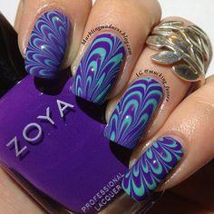 Purple & Turquoise Water Marble Nails - Zoya Mira & Wednesday