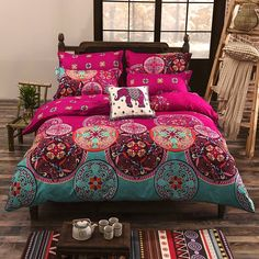 Vaulia Lightweight Microfiber Bohemian Duvet Covers, Bohemian Exotic Patterns,Bright Pink Color, Queen/King Size