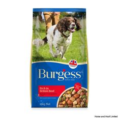 Burgess Adult Dog Rich in Beef Burgess Adult Dog Rich in Beef has tasty moist beefy chunks naturally rich in protein for good muscle development and maintenance.