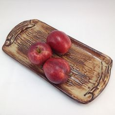 Handmade Appetizer Serving Tray / Fruit & Veggie Plate / Cheese and Cracker Party Server / Bread Server Veggie Plate, Hand Built Pottery, Ceramic Clay, Clay Art, Cool Things To Make, Crackers, Tray, Veggies, Appetizers