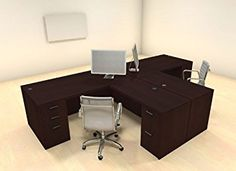 Two Persons Modern Executive Office Workstation Desk Set In Business Furniture