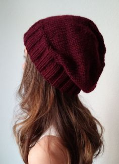Knit slouchy hat CHARCOAL GRAY more colors por OfftheStix en Etsy
