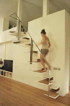 These gifted and stirring Modern Staircase Ideas will make your home look modern and pleasing. Tiny House Stairs, Loft Stairs, Stair Handrail, Staircase Railings, Iron Staircase, Stairways, Small Space Stairs, Small Spaces, Railing Design