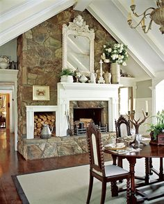 Fireplace transformation ideas. The rock fireplace with a mantel over it.