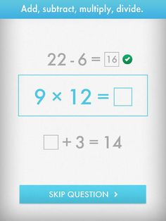 Quick Math - Multiplication Table & Arithmetic Game ($1.99) for students in ages 6-12. With multiple difficulty levels and a focus on self-improvement, Quick Math provides increasing challenges as your skills develop. Practice mental addition, subtraction, multiplication, division and mixed operations • Develop arithmetic fluency and improve mental strategies  • Practice pre-algebra skills by calculating unknown values and using inverse operations • Practice handwriting