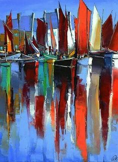 Bright and inviting - would love to be on the water French Art Network Boat Painting, Painting & Drawing, Mediterranean Paintings, Boat Art, Colorful Paintings, French Art, Painting Inspiration, Art Projects, Contemporary Art