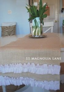 burlap ruffle runner... so similar!  @Amanda Kimsey